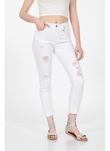 Vitrin Beyaz Yırtık Skiny Denim Pantolon Beyaz